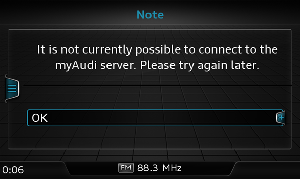 It is not currently possible to connect to the my Audi server. GEMMI/GEMIB