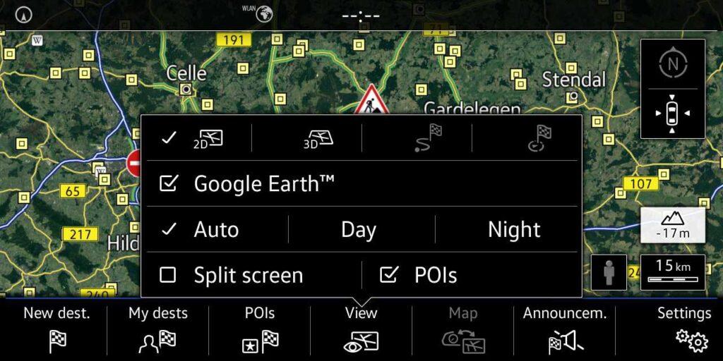 Volkswagen car-net - Google Earth